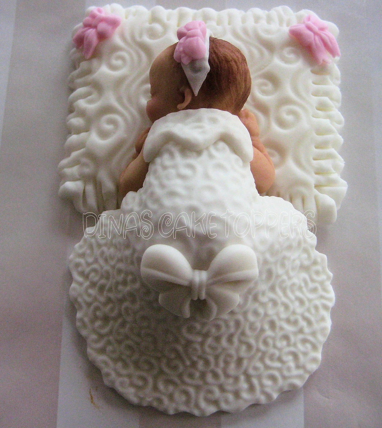 Fondant Cake For Baptism : CHRISTENING BAPTISM Baby Girl Cake Topper by DinasCakeToppers