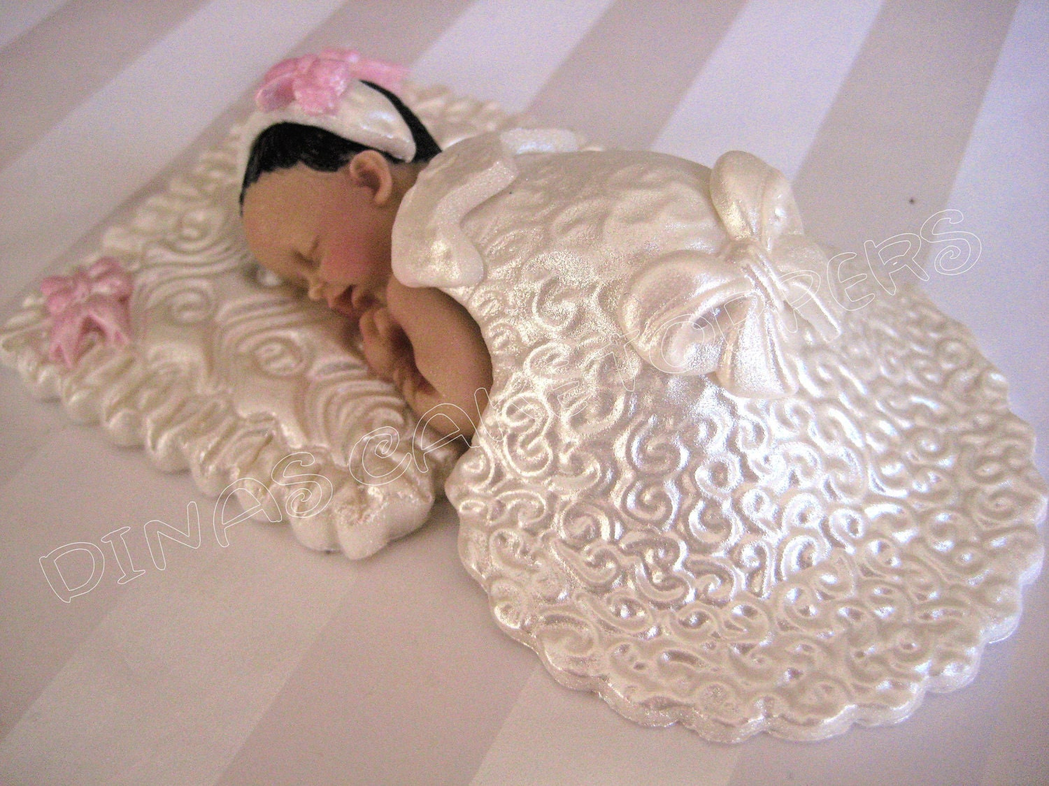 CHRISTENING BAPTISM Baby Girl Cake Topper by DinasCakeToppers