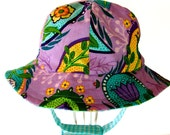 Posy -Purple - Floral - Blue - Gingham - Reversible - Baby - Sun Hat - With Chin Strap