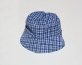 Blue Plaid Baby Sun Hat - Green Puppy - Reversible - With or Without Chin Strap - Sweet Chicky