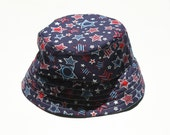 4th of July - Red, White & Blue - Stars - Blue Check - Bucket Hat - Reversible Baby Sun Hat - With or Without Chin Strap - Sweet Chicky