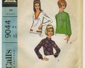 Vintage 1967 McCalls Pattern 9044 Misses Blouse In Three Versions-Size 14 Bust 34