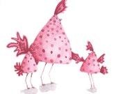 Pink Spotty Birds - Easter