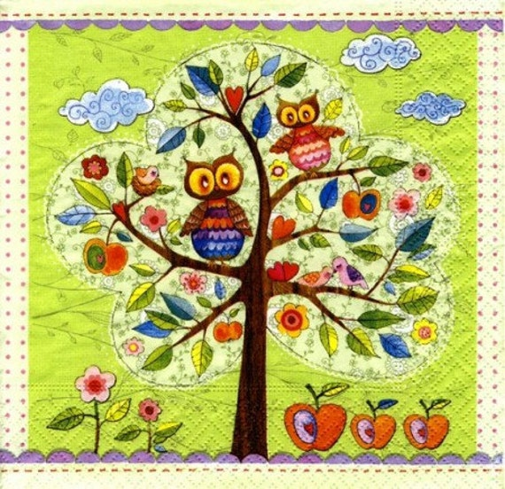 Owls on tree art napkin Decoupage