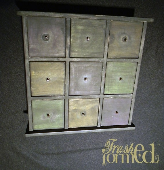 9 Drawers Jewelry box, distressed wood