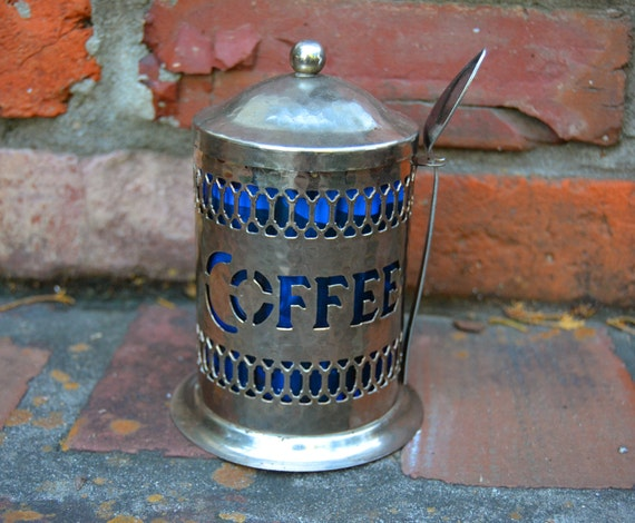 Art Nouveau silverplate vintage coffee container with spoon