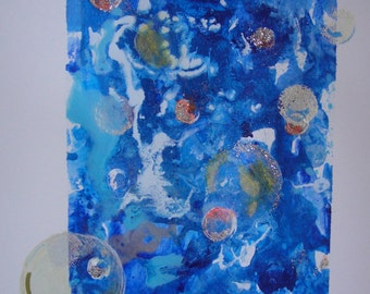"""The Art of Giving, Giving Original Art. Blue, Original Small Painting """"Bubbles"""""""