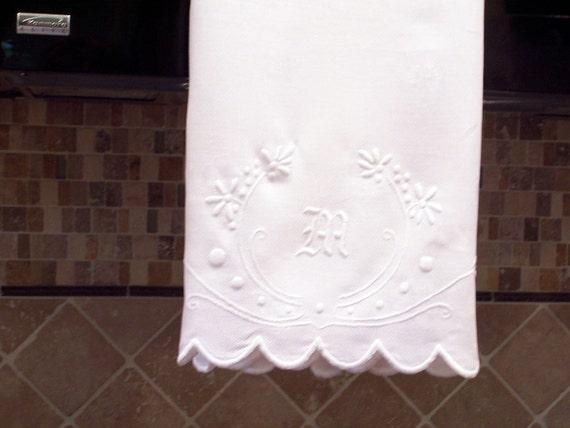 Tea Towel or hand towel monogrammed embroidered