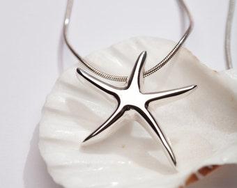 Bridesmaid Starfish Necklace, Beach Wedding Necklace, Silver Starfish Necklace, Starfish Jewelry, Summer Necklace, Ocean Lovers Necklace