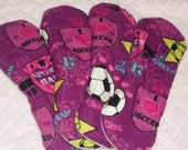 READY TO SHIP I Heart Soccer All in one Cloth Pads 9 inch