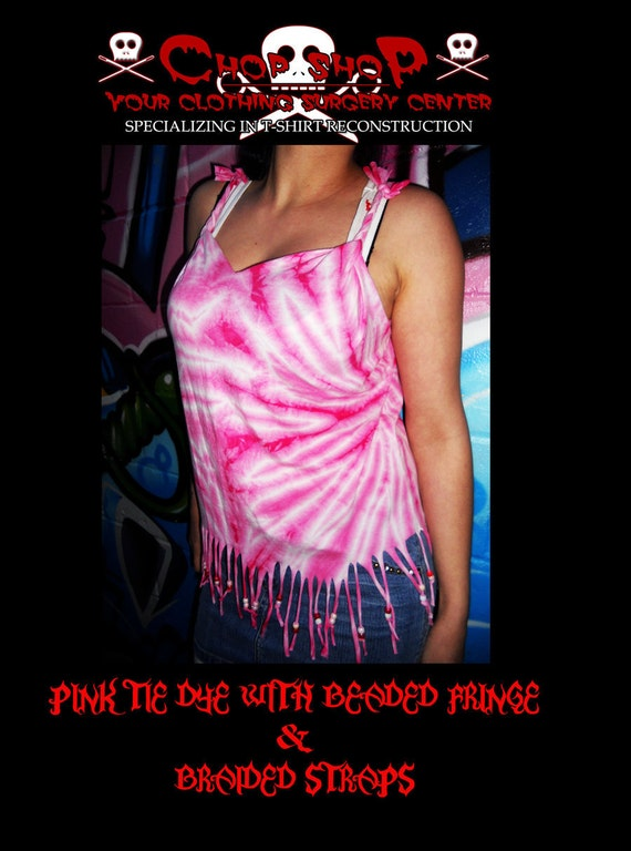 Pink and white tie dye with beaded fringe and braided straps. Size M or L. Indie hippie gypsy style frilly fun summer love
