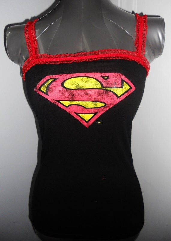 Ladies customized Superman tank top. Size XS/S. Light weight, comfortable, form fitting, flattering, great for summer.