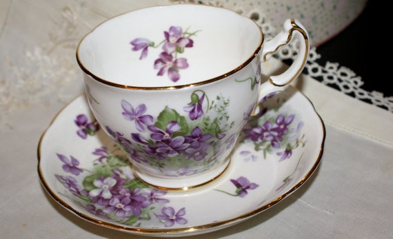Hammersley Victorian Violets Bone China Cup and Saucer