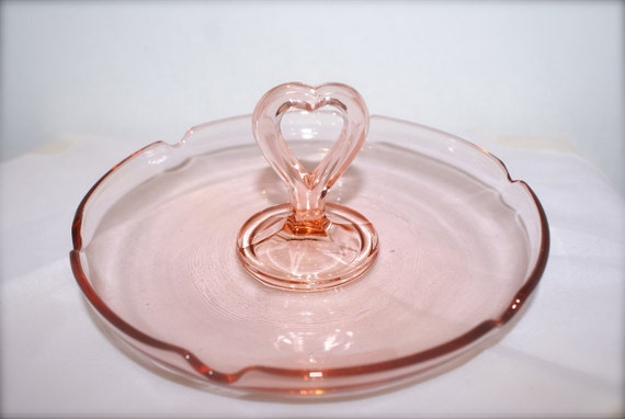 Vintage Pink Depression Glass Dish with Heart Handle