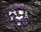 Hello Kitty Cabochon Set Purple Romance in Paris 69 pieces