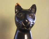 Whimsical Older Folk Art Primitive Carved Black Cat