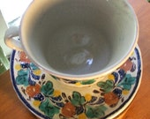 Perfect Vintage Majolica Gorky Gonzalez Guanajuato Mexico Cup and Saucer