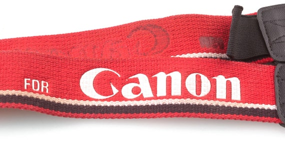 "Vintage ""For Canon"" Bright Red Camera Strap"