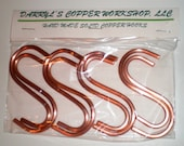 """Set of 8 SOLID COPPER """"S"""" Hooks Free Shipping to U S Zip codes - Wholesale lots available (50 hooks or more) - contact me for pricing"""