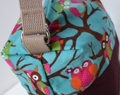 Fully Insulated - Reusable/Eco Friendly - Box Lunch Tote - Maroon Canvas Bottom with Owls on Blue