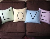 Spell out how much you LOVE them - Knitted cushions