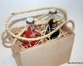 Wooden Bottle Box 2 Sections Vintage Style