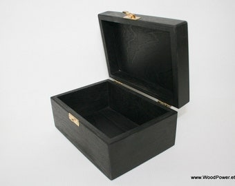 Black Wooden Gift and Keepsake Box 6 x 4 x 3 inch / Black Storage Box