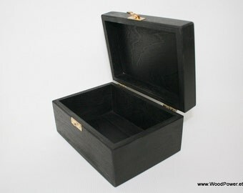 Black Wooden Gift and Keepsake Box 6 x 4 x 3 inch / Black Storage Box