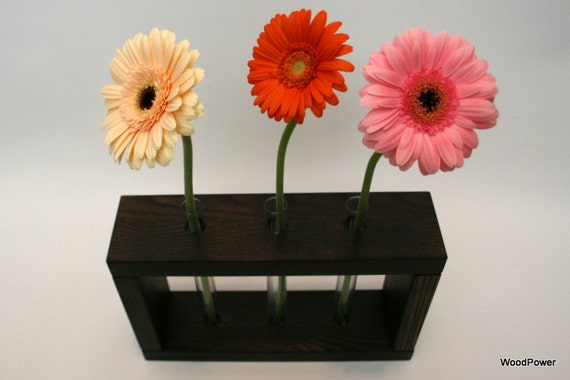 Wooden Bud Vase Home Decor 3 Flowers / Wooden Vase / Dark Brown Vase