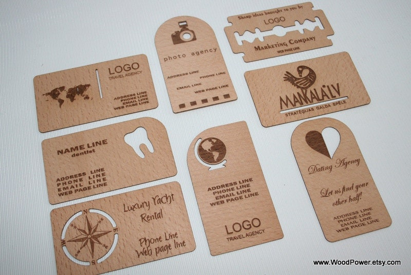Wooden Business Card / Unique Design / Set of 10 / Custom