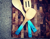 Ombre Wooden Spoons in blues set of three