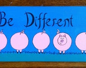 "Original Painting of 5 Little Pigs with One Trying to ""Be Different"""