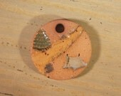 Small Handmade Clay Pottery Pendant Charm or Ornament - Round - Unglazed Background - Camping Scene