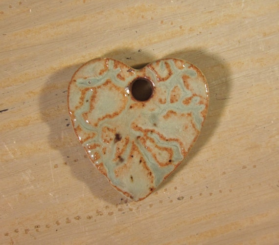 Small Handmade Clay Pottery Pendant Charm or Ornament - Heart - Sage Textured