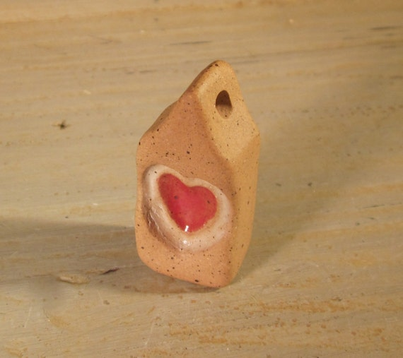 Adoorables House Pendant - Handmade Clay Pottery Charm or Ornament - Unglazed Background - Heart