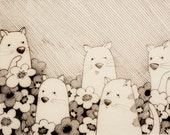 Kitty Cats pen and ink illustration 3/4/2012