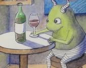 Francis drinking wine pen ink watercolor illustration 3/30/12