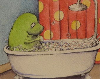 Dino in the tub, watercolor, pen and ink original illustration 6/15/12