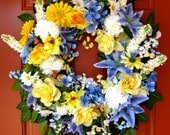 SALE, Spring Sunshine Cheerful blue and yellow Wreath, Large
