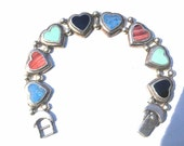 REDUCED Slide bracelet set in sterling silver with Black onyx,Turquoise.pink agate