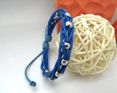 women bracelet   Blue leather cord and Bead made of fashion cuff leather bracelet  Fashion Jewellery  LB91