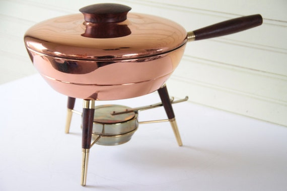 Mid- Century Eames Style Copper Colored Metal Chafing Pan with Stand 1970s Decor
