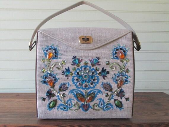 Vintage Enid Collins Style Blue Flowers Sequins Wood Panel Linen Box Purse Handbag