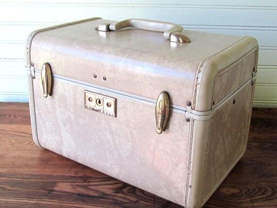 Vintage Samsonite Train Makeup Travel Case Luggage Cream Marbled 1950s
