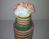 Striped Kitchen Towel Cake