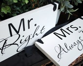 MR and MRS Wedding Signs Double Sided Chair Hangers and Photo Props