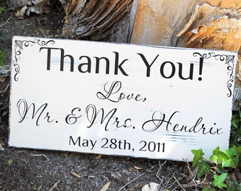 Thank You Sign Rustic Chic Wedding Decor Photo Prop