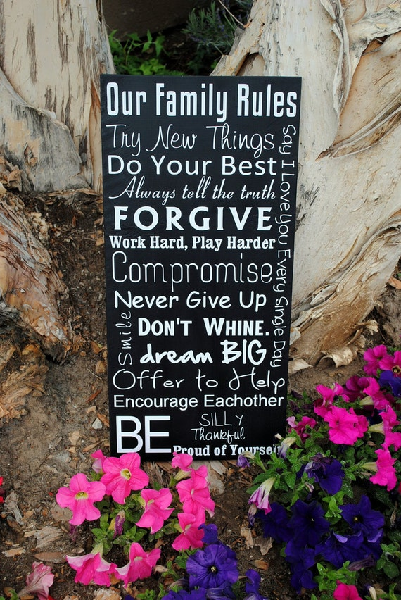 """Family Rules Signs House Rules Customize with Last name 12""""x24"""""""