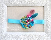 Paisley Fabric Rosette Headband with Feathers blue, aqua, pink, green orange Newborn Baby Girl Toddler