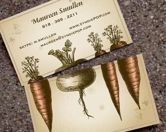 250+ PRINTED Business Cards VINTAGE GARDEN - Gardener - Landscape- Organic